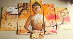 5 Panel Wall Art Religion Buddha Oil Painting On Canvas Picture Framed Ready to Hang ** Visit the image link more details.
