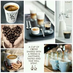 Coffee And Friendship collage byJeetje But First Coffee, I Love Coffee, Coffee Break, Morning Coffee, Coffee Shop, Coffee Cups, Collages, Mood Colors, Color Collage