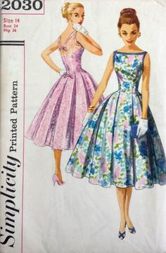 Vintage 1950 s Sewing Pattern Low V Back Prom Ballgown Dress Bust 34 (D)