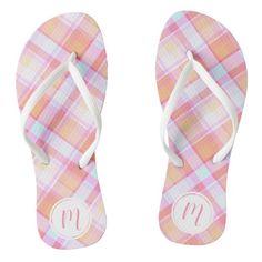 #ad Pretty Pastel, Plaid Pattern, Flip Flops, Monogram, Slip On, Sandals, Prints, Color, Design