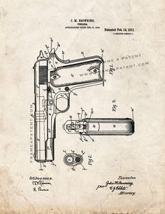 """Colt 1911 Gun Patent Print - Old Look 5"""" x 7"""" for $7.95"""