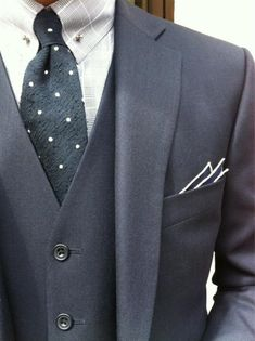 three piece dark gray suit. ash gray glen plaid oxford. charcoal gray tie w/white dots. gray pocket square w/white trim. sophisticated. dapper. style.