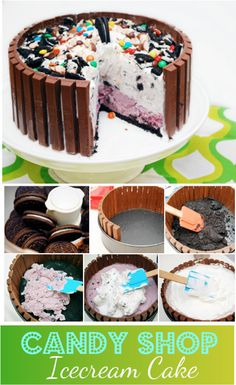 ice-cream cake with chocolate wafer crust. great for kids party