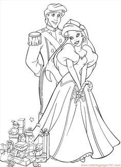 free printable coloring image Christmas Coloring Princess