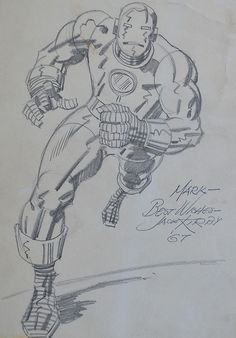 Cap'n's Comics: Iron Man Sketch by Jack Kirby Comic Book Artists, Comic Book Characters, Comic Artist, Marvel Comic Books, Comic Books Art, Marvel Dc, Marvel Comics, Frank Miller Comics, Jack Kirby Art
