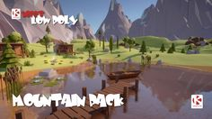 Low Poly Mountain Pack - a Asset Store Pack of over 100 low poly models to build a mountain environment Low Poly 3d Models, Game Assets, Asset Store, Golf Courses, Environment, Mountain, Art Things, 3d Modeling, Building