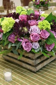 Square  floral arrangements.