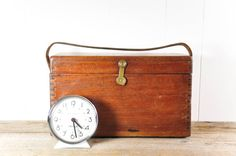 Vintage Wood Box with Leather Handle