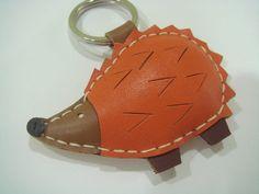 Heather the Hedgehog Leather Keychain Orange by leatherprince, $21.90