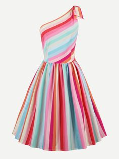 Shop Rainbow Stripe Oblique Shoulder Circle Dress online. SheIn offers Rainbow Stripe Oblique Shoulder Circle Dress & more to fit your fashionable needs.