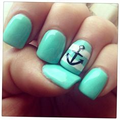 Anchor Nail Designs, Anchor Nail Art, Gel Nail Designs, Cute Nail Designs, Art Designs, Nails Design, Nails With Anchor Design, Beachy Nail Designs, Nautical Nail Designs