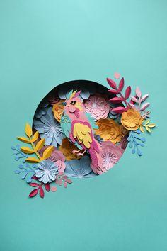 3d Paper Art, Paper Collage Art, Paper Artwork, Paper Paper, Quilling Paper Craft, Paper Crafts Origami, Illustration Noel, Cut Paper Illustration, Papier Diy
