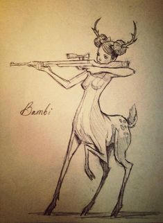 Chiara Bautista- this disturbs me more than it should that Bambi has antlers (meaning boy) but a feminate face and breasts (meaning girl).