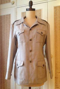 1970s classic safari jacket in neutral shade by IllumeVintage, $65.00 Safari Jacket, Top Stitching, My Wardrobe, 1970s, Neutral, Feminine, Shades, Shirt Dress, Suits