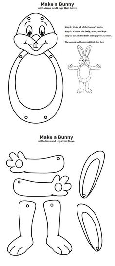 Here comes Peter Cottontail, hoppin' down the bunny trail, hippity, hoppity, Easter's on its way! Color and cut out the rabbit's parts, then attach them together with brass paper fasteners.: