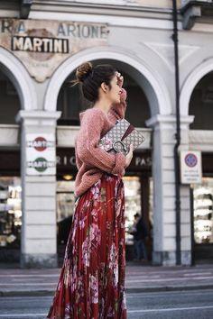 Floral Print Maxi Dress, Street Style Fashion