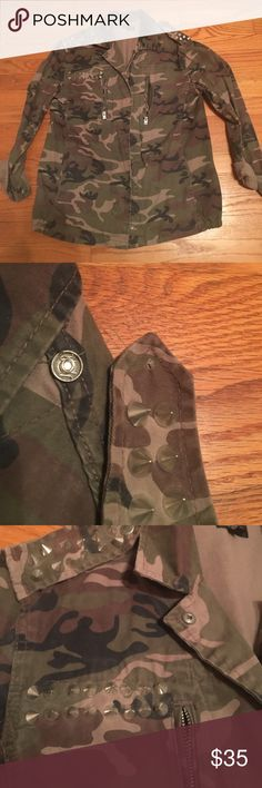 Topshop Camp Jackets Topshop camo jacket wii studs. One shoulder strap needs to be re-sewn as pictures. Topshop Jackets & Coats