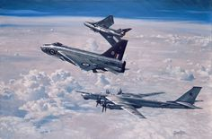 "Royal Air Force English Electric Lightning F.6 interceptors and a Soviet Air Force Tupolev Tu-95 ""Bear"" bomber."