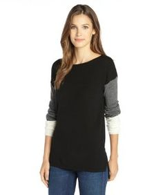 Haydenblack and fog cashmere knit colorblock sweater