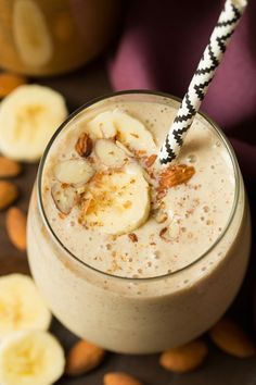 Banana Almond Flax Smoothies - this is one of THE BEST healthy smoothies I've ever tasted! Going to be a regular for us!