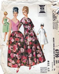 60s McCalls dress sewing patterns 6720, Bust 32 inches, long evening dress and coat, factory folded.   Sleeveless dress with fitted, bias bodice and
