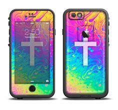 The Vector White Cross v2 over Neon Color Fushion V2 Apple iPhone 6/6s Plus LifeProof Fre Case Skin Set from DesignSkinz