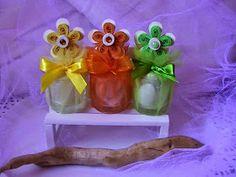 IL MONDO CREATIVO di Alessia, dove tutto è realizzato a mano, con arte, passione e fantasia!!: Bomboniere per Battesimo/Comunione/Cresima con deliziose Piantine di Quilling in vasetti di vetro.