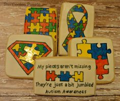 The Cookie Puzzle: National Puzzle Day Autism Awareness Cookies Kansas Day, Gotcha Day, Different Cakes, Cool Pins, Crazy Life, Awesome Cakes, Aspergers, Cookie Designs, Culinary Arts