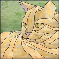 Tiffany, Animal Original, Cat Quilt Patterns, Cat Template, Making Stained Glass, Iris Folding, Cat Crafts, Cat Drawing, Glass Panels