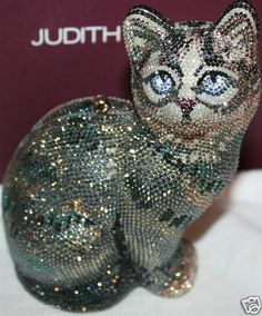 Judith Leiber New Scales | Judith Leiber Capone Cat Crystal Minaudiere...