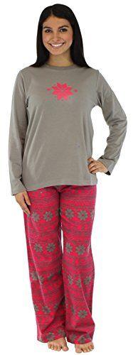 PajamaMania Women s Sleepwear Flannel Pajama PJ Sets Pink   Grey Snowflake-  MED. Knit (. Long Sleeve ... 673d56647