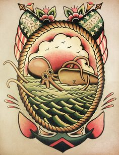 Nautical Traditional Flash. ParlorTattooPrints on Etsy.