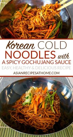 Korean Cold Noodles with Spicy Sweet and Sour Gochujang Sauce - This cold, light. - Korean Cold Noodles with Spicy Sweet and Sour Gochujang Sauce – This cold, light and refreshing K - Easy Korean Recipes, Asian Noodle Recipes, Asian Recipes, Recipes With Korean Noodles, Cold Soba Noodle Recipe, Asian Desserts, Spicy Recipes, Recipes, Korean Recipes