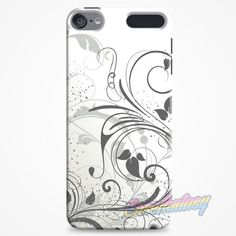 Grey Floral Swirls iPod Touch 6 Case | casefantasy