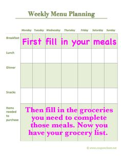 I use this kind of planner. Also save you a lot of money because you spoil less food.