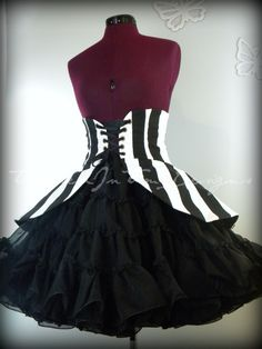 Peplum Peplum in Black and White Stripes by TrappedInTimeDesigns, $60.00