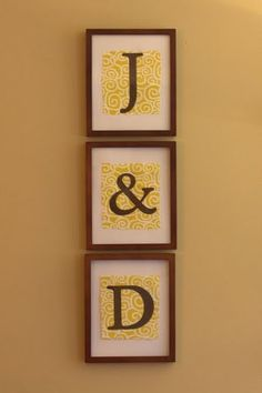 Monogram Wall Art. (Me and Darren =]) very cute.