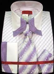 SKU#YJ1012 Mens Shirt Tie and Hankie Set - Lavender $65