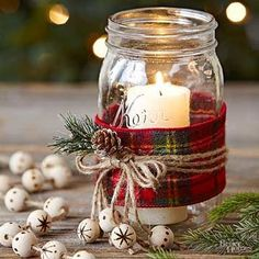 try these easy candles in mason jars. Wrap the jar with wide plaid ribbon. artesanato ideias decoração natalina passo a passo mesa posta arranjo faça vc mesmo diy presente centrodemesa pinha artesanais mesa de natal ceia de natal Mason Jar Christmas Crafts, Plaid Christmas, Christmas Projects, Winter Christmas, Holiday Crafts, Christmas Ideas, Christmas Sewing, Elegant Christmas, Christmas Candles