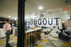 WeWork Fort Point includes a sports bar inspired lounge space, known as The Dugout