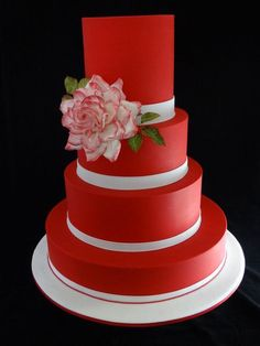 Red and White wedding - by Cakeage @ CakesDecor.com - cake decorating website
