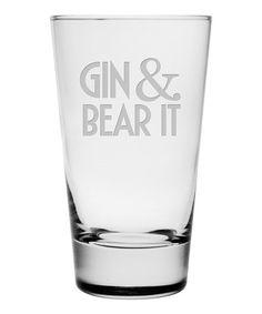 Look at this #zulilyfind! 'Gin & Bear It' Glass - Set of Four #zulilyfinds