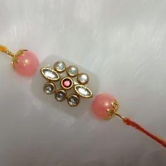Beautiful Rectangular White Kundan Bead with Baby Pink Beads Thread Rakhi Denim Jacket Embroidery, Happy Raksha Bandhan Images, Handmade Rakhi Designs, Rakhi Making, Rakhi Online, Happy Rakshabandhan, Bangles, Bracelets, Ganesha