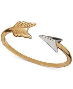 Two-Tone Arrow Statement Ring in 14k Gold