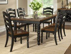stained top, black bottom kitchen table | table painted black and ...
