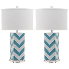 Chevron Table Lamps - these would be so cute in a teenager's or 'tween' bedroom.