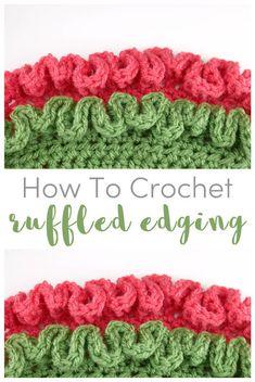 How to Crochet Ruffled Edging free crochet pattern full video tutorial on Fiber Flux Crochet Border Patterns, Crochet Blanket Border, Crochet Boarders, Crochet Designs, Crochet Edges For Blankets, Loom Patterns, Crochet Ruffle, Easy Crochet, Free Crochet
