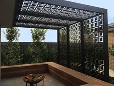 QAQ Decorative Screens & Panel's 'Babylon' design, shown here in black powder-coated ACM (aluminium composite material).