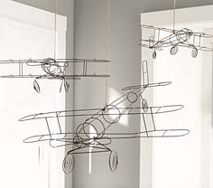 wire hanging aeroplanes...pottery barn kids