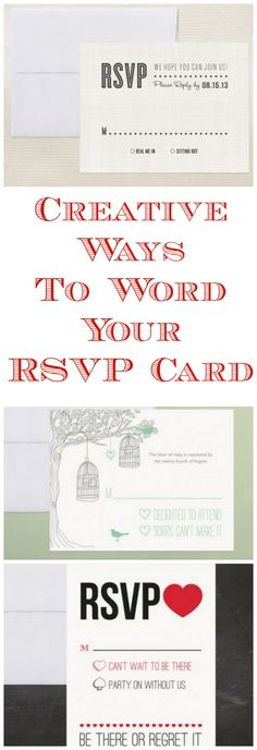Creative Ways To Word Your RSVP Card Might need this one day